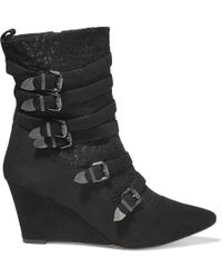 Lucy Choi - Buckingham Buckled Corded Lace And Suede Wedge Boots - Lyst