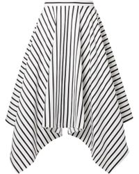 Adam Lippes - Woman Asymmetric Striped Cotton-poplin Midi Skirt White - Lyst