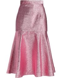 House of Holland - Woman Flared Lurex Midi Skirt Pink - Lyst