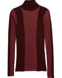 Emilio Pucci - Panelled Ribbed-knit Wool-blend Turtleneck Top - Lyst