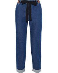 Altuzarra - Tie-front Cropped Mid-rise Slim-leg Jeans - Lyst