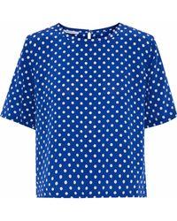 Equipment - Brynn Polka-dot Washed-silk Blouse - Lyst