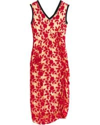 Marni - Ruched Embroidered Tulle Midi Dress - Lyst