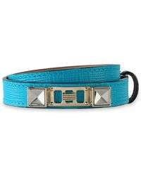 Proenza Schouler Lizard-effect Leather, Silver And Gold-tone Bracelet Turquoise