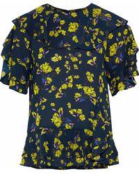 Goen.J - Woman Ruffled Floral-print Crepe De Chine Peplum Blouse Midnight Blue - Lyst