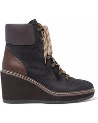 See By Chloé - Leather-paneled Nubuck Wedge Ankle Boots - Lyst