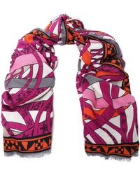 Emilio Pucci - Frayed Printed Cashmere And Silk-blend Scarf - Lyst