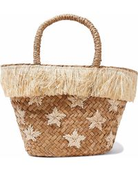 Kayu - Fringed Embroidered Woven Straw Tote - Lyst