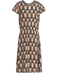 Velvet By Graham & Spencer - Printed Crepe Dress Dark Brown - Lyst