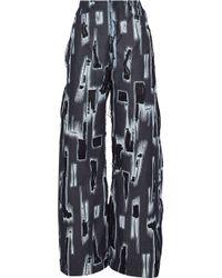 Marques'Almeida - Distressed Chiffon-trimmed High-rise Wide-leg Jeans - Lyst