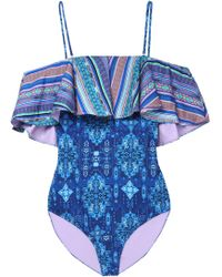 Matthew Williamson - Cold-shoulder Ruffled Printed Swimsuit - Lyst