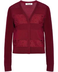 Diane von Furstenberg - Guipure Lace And Open Knit-paneled Wool Cardigan - Lyst