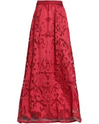 Alberta Ferretti - Woman Fil Coupé Organza Maxi Skirt Claret - Lyst
