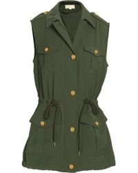 MICHAEL Michael Kors - Gathered Crepe Vest Forest Green - Lyst