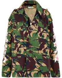 Off-White c/o Virgil Abloh - Printed Cotton Hooded Jacket Army Green - Lyst