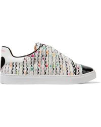Isa Tapia | Caelen Leather And Textured Woven Trainers | Lyst