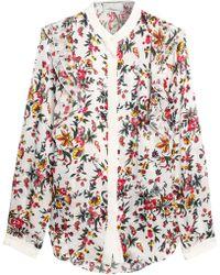 3.1 Phillip Lim - Ruffed Floral-print Silk Shirt - Lyst