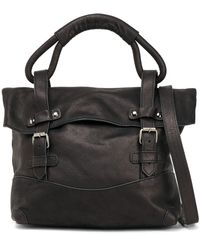 Ann Demeulemeester Buckled Leather Shoulder Bag Dark Brown