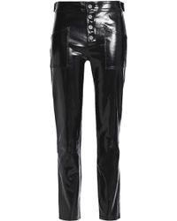 43abcd39ef Patent-leather Slim-leg Pants Black