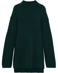 By Malene Birger - Woman Paprika Oversized Brushed Ribbed-knit Jumper Emerald - Lyst