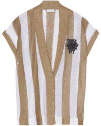 Brunello Cucinelli - Embellished Striped Linen And Silk-blend Cardigan - Lyst