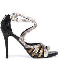 Roberto Cavalli - Metallic-trimmed Color-block Python Sandals - Lyst