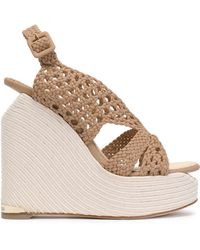Paloma Barceló - Woven Leather Platform Wedge Sandals - Lyst