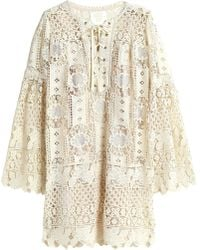 Anna Sui - Woman Lace-up Guipure Lace Mini Dress Ecru - Lyst