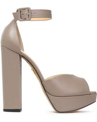 Charlotte Olympia - Eugenie Textured-leather Platform Sandals - Lyst