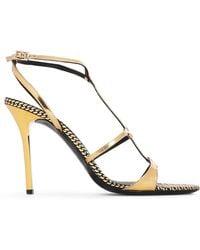 Emporio Armani - Woman Metallic Patent-leather Sandals Gold - Lyst