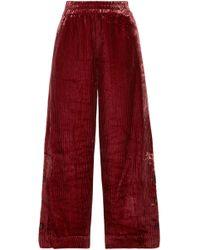 By Malene Birger - Woman Clamirana Striped Velvet Wide-leg Pants Claret - Lyst