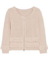 Autumn Cashmere - Fringed-trimmed Open-knit Cotton Jacket - Lyst