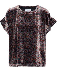 Current/Elliott - Janie Floral-print Velvet Top - Lyst