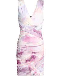 Roberto Cavalli - Woman Ruched Printed Crepe De Chine Mini Dress Lilac - Lyst