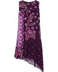 Anna Sui - Asymmetric Panelled Printed Silk-chiffon Mini Dress - Lyst