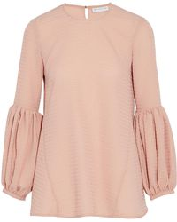 Rebecca Vallance - Gathered Jacquard Top Baby Pink - Lyst