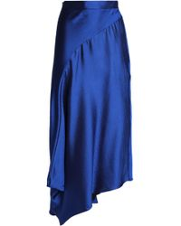 ROKSANDA - Asymmetric Wool-blend Satin Midi Skirt Cobalt Blue - Lyst
