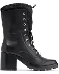 Sigerson Morrison - Glossed Leather Combat Boots - Lyst