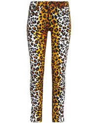 Love Moschino - Leopard-print Cotton-blend Velvet Slim-leg Pants Animal Print - Lyst