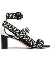 Jimmy Choo Woman Maya Two-tone Woven Leather Sandals Black Size 40 Jimmy Choo London Qt85q