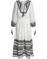 Zimmermann - Tasselled Embroidered Linen-gauze Midi Dress - Lyst