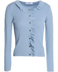 Sandro - Revy Ruffle-trimmed Ribbed-knit Cardigan Light Blue - Lyst
