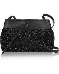 Kara - Tie Leather-paneled Marled Shearling Shoulder Bag - Lyst