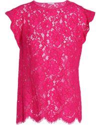 Claudie Pierlot - Scalloped Cotton-blend Corded-lace Top - Lyst