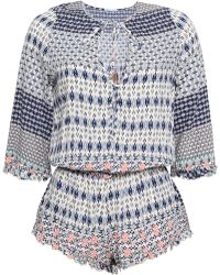 Eberjey - Woman Gathered Printed Voile Playsuit Midnight Blue - Lyst
