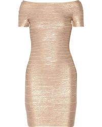 Hervé Léger - Hervé Léger Woman Carmen Off-the-shoulder Metallic Bandage Mini Dress Rose Gold - Lyst