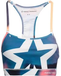 Perfect Moment - Woman Printed Stretch Sports Bra Multicolour - Lyst
