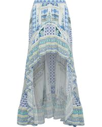 Camilla Salvador Summer Embellished Printed Washed-silk Maxi Skirt Light Blue