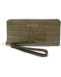 MICHAEL Michael Kors - Croc-effect Leather Wallet Army Green - Lyst