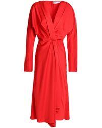 Victoria Beckham - Wrap-effect Gathered Satin-crepe Dress - Lyst